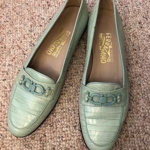 Ferragamo Blue Croc Leather Loafers